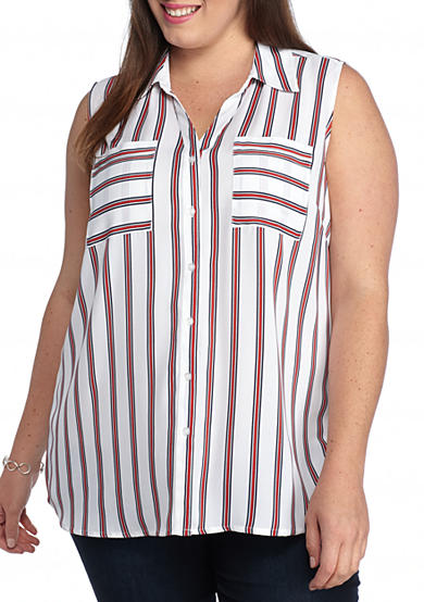 Kim Rogers® Plus Size Sleeveless Striped Camp Shirt
