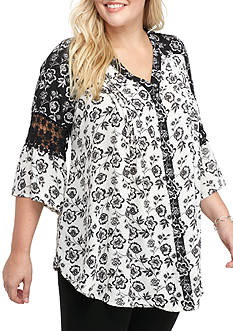 Kim Rogers® Plus Size Floral Y-Neck Bell Sleeve Top