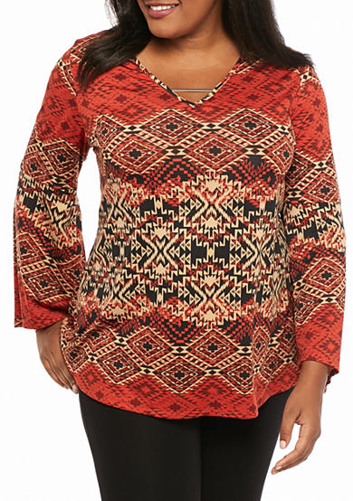 Kim Rogers® Plus Size Bell Sleeve Hi-Low Knit Top