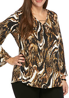 Kim Rogers Plus Size Bell Sleeve High Low Knit Top