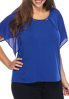 Kim Rogers Plus Size Flutter Sleeve Knit Top