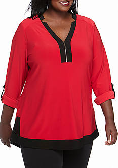 Kim Rogers Plus Size Rolltab Zipper Y Neck Top