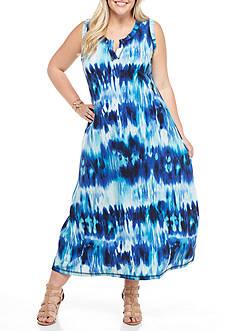 Kim Rogers Plus Size Split Neck Maxi Dress
