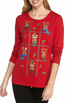 Kim Rogers The Christmas Reindeer Patch Jeweled Tee