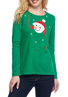 Kim Rogers Christmas Snowman Head Jewel Tee