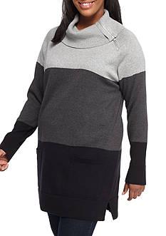 Jeanne Pierre Plus Size Asymmetric Zip Collar Tress Colorblock Sweatshirt