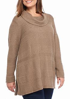 Jeanne Pierre Women's Mixed Stitch Sharkbite Sweater with Cowl Neck