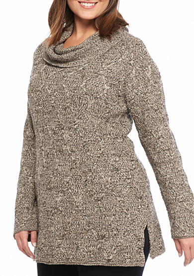 Jeanne Pierre Women's Lattice Marbled Sweater with Cowl Neck
