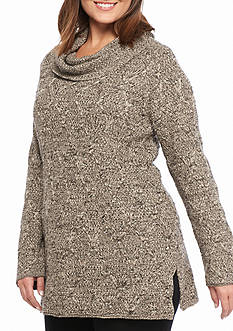 Jeanne Pierre Women's Lattice Marbled Sweater with Cowl Neck