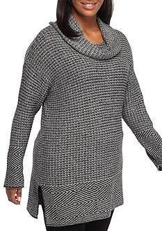 Eight Eight Eight Plus Size New Herringbone Cowl Neck Sweatshirt