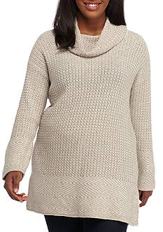 Eight Eight Eight Plus Size New Herringbone Cowl Neck Sweatshirt