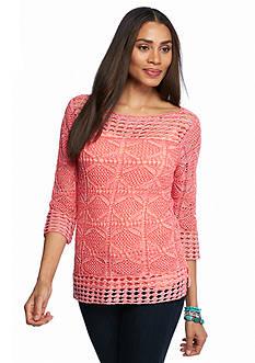 Jeanne Pierre Open Knit Sweater