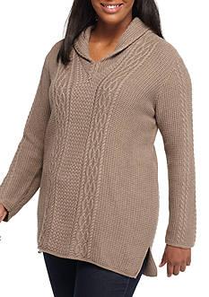 Jeanne Pierre Petite Size Cable Texture Shawl Neck Sweatshirt