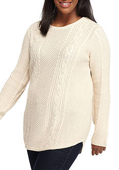 Jeanne Pierre Plus Size Cable Texture Rounded Bottom Sweater