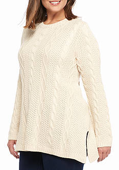 Jeanne Pierre Plus Size Fisherman Cable Crew Neck Sweater