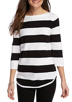 Jeanne Pierre Striped Cotton Sweater