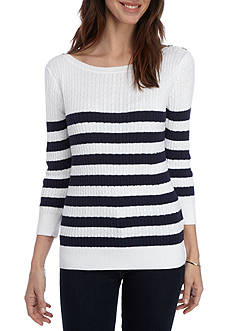 Jeanne Pierre Striped Cable Knit Sweater