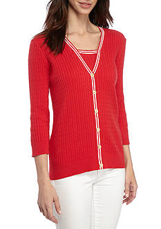 Jeanne Pierre Baby Cable Knit 2Fer Sweater