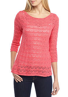 Jeanne Pierre Three-Quarter Sleeve Boatneck Sweater