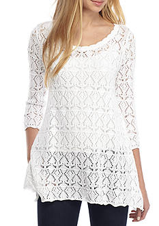 Jeanne Pierre Sharkbite Open Tunic Sweater