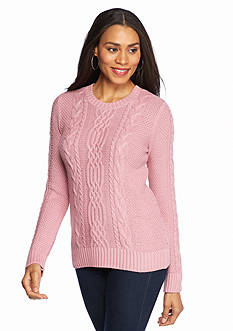 Jeanne Pierre Cable Crew Neck Sweater