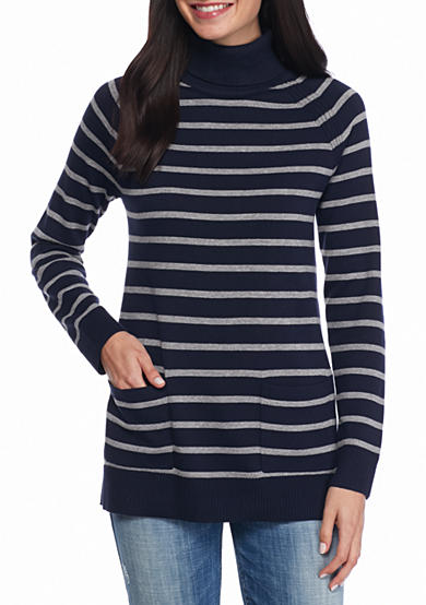 Jeanne Pierre Fine Gauge Stripe Turtleneck Sweater