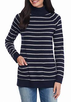 Jeanne Pierre Fine Gauge Stripe Turtleneck Sweater