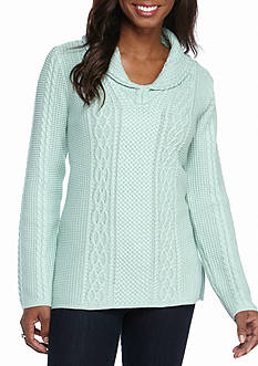 Jeanne Pierre Shawl Collar Fisherman Cable Sweater