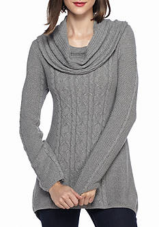 Jeanne Pierre Fisherman Cable Cowl Shark Bite Sweater