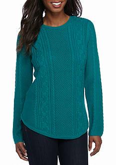 Jeanne Pierre Textured Fisherman Crew Neck Sweater