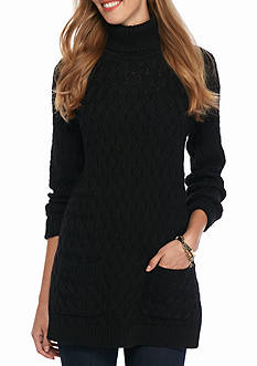 Jeanne Pierre Fisherman Cable Turtle Neck Tunic