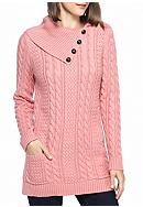Jeanne Pierre Split Neck Fisherman Cable Tunic