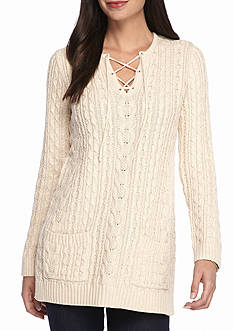 Jeanne Pierre Lace Up Fisherman Tunic
