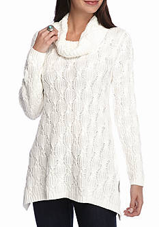 Jeanne Pierre Fisherman Cable Cowl Neck Sweater