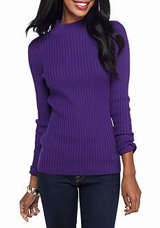 Jeanne Pierre Ribbed Mock Neck Sweater