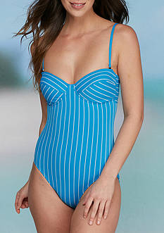 Vince Camuto Port Vila Striped One Piece Bandeau Swimsuit