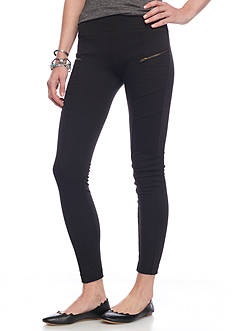 A. Byer Ponte Zipper Leggings