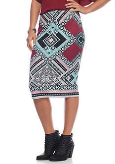 A. Byer Printed Scuba Midi Skirt