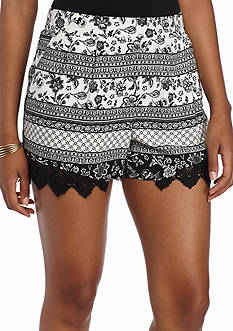 A Byer Black and White Printed Shorts