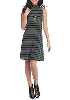 A. Byer Sleeveless Stripe Necklace Knit Dress