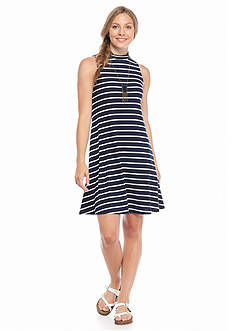 A Byer Sleeveless Stripe Necklace Knit Dress