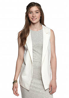 A. Byer White Lapel Sleeveless Pockets Vest