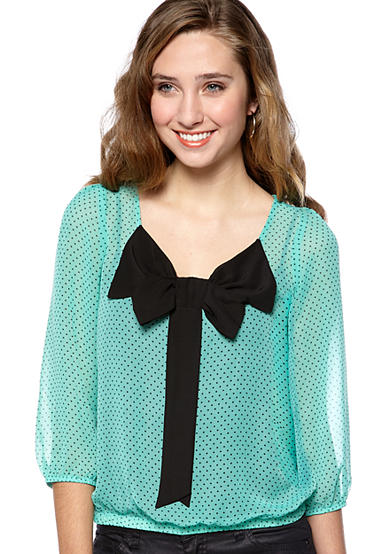 A. Byer Dot Print Top with Bow