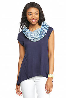 A. Byer Solid Knit Top and Printed Scarf