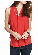 A. Byer Woven Tie Neck Top