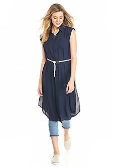 A. Byer Long Belted Tunic Shirt