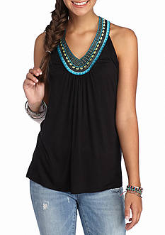 A. Byer Embroidered T Back Tank