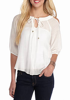 A. Byer Cold-Shoulder Pleated Blouse