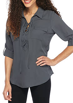 A. Byer Crepe Lace Up Shirt