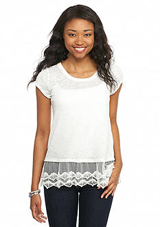 A. Byer Solid Lace Trim Top